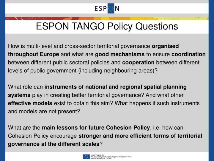 ESPON TANGO Policy Questions