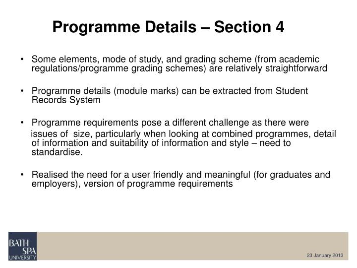 Programme Details – Section 4