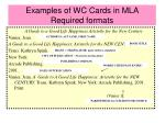 examples of wc cards in mla required formats