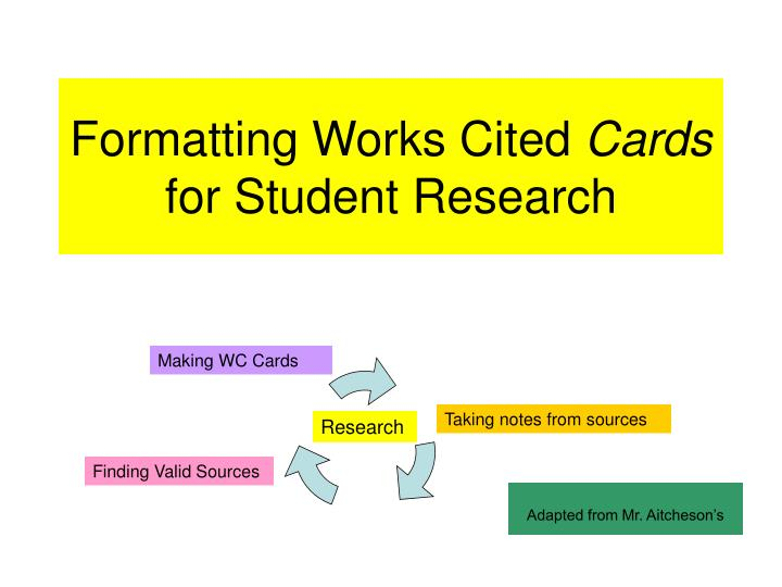 formatting works cited cards for student research n.