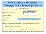 other examples of wc entries newspaper article with multiple authors