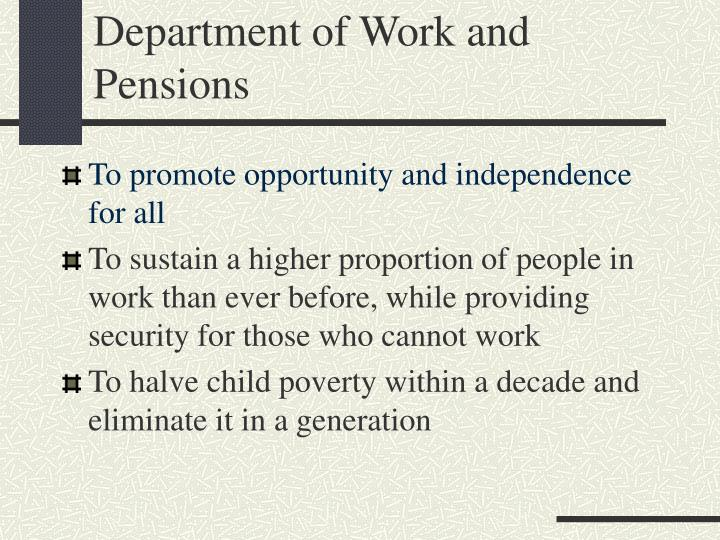 Department of Work and Pensions