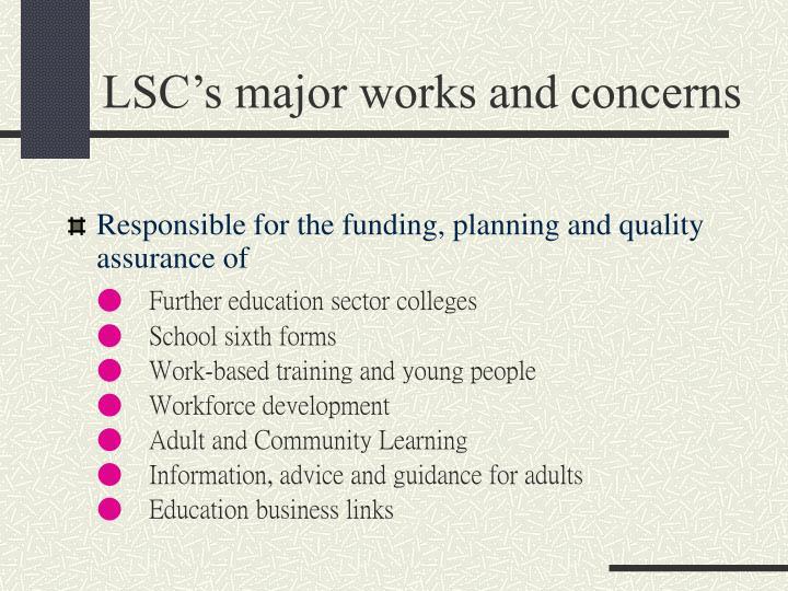 LSC's major works and concerns