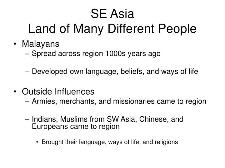 Se asia land of many different people