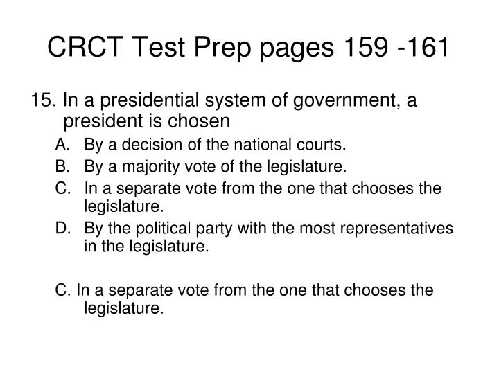 CRCT Test Prep pages 159 -161