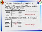 comment on results electrons