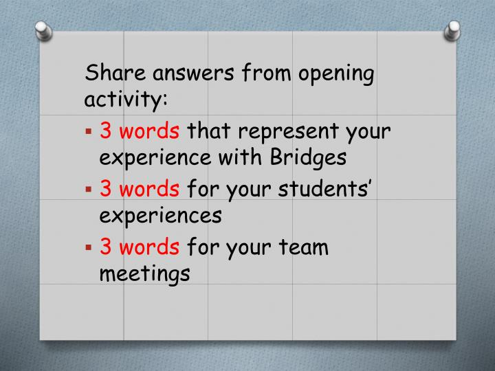 Share answers from opening activity: