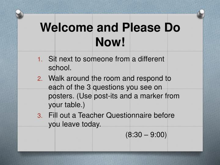 Welcome and please do now