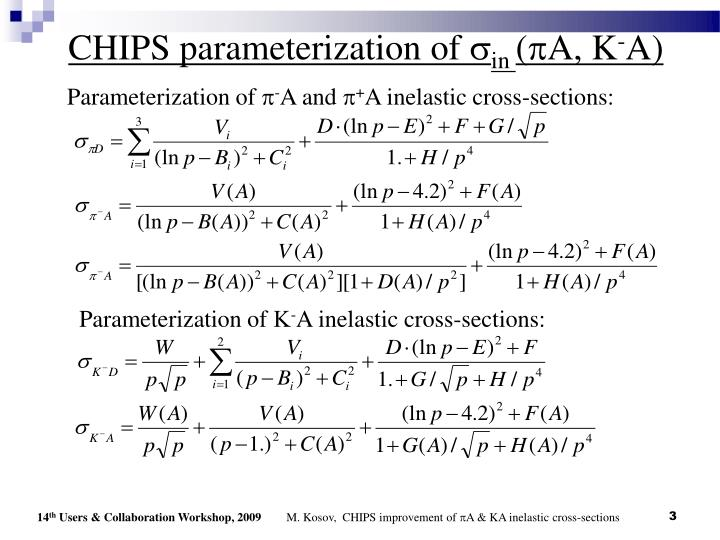 Chips parameterization of s in p a k a