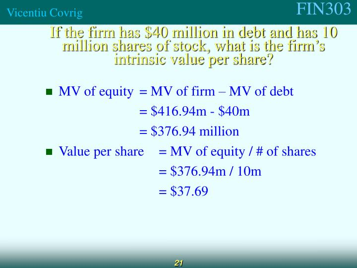 fin571 intrinsic value of debt and equity instruments With characteristics of both liabilities and equity this issue applies to convertible debt instruments and of the proceeds equal to the intrinsic value of.