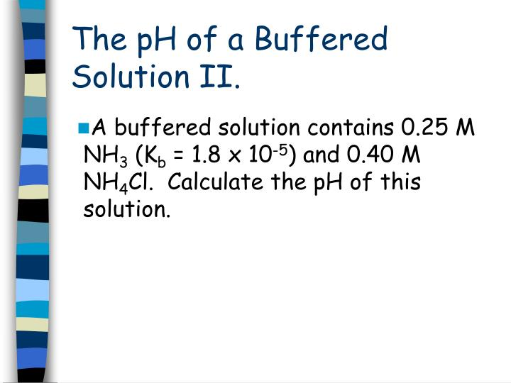 The pH of a Buffered Solution II.