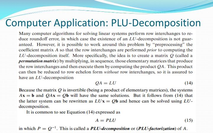 Computer Application: PLU-Decomposition