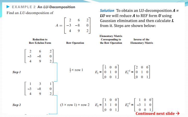 PPT - Chapter 9.1 = LU Decomposition PowerPoint Presentation - ID ...