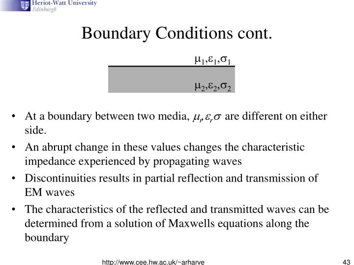 Boundary Conditions cont.