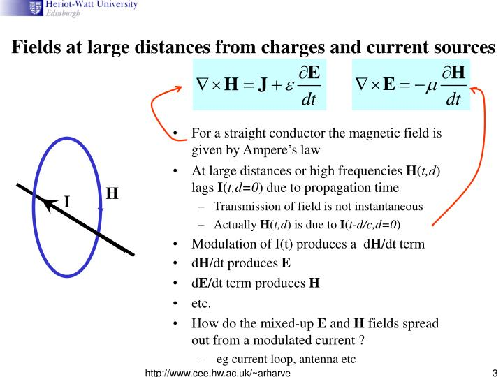 Fields at large distances from charges and current sources