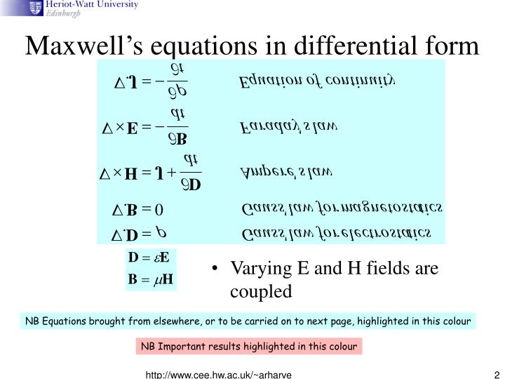 Maxwell s equations in differential form