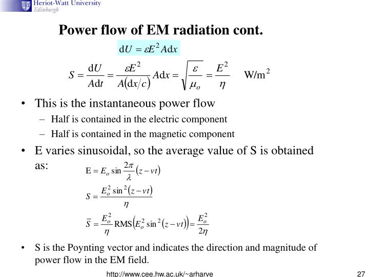 Power flow of EM radiation cont.
