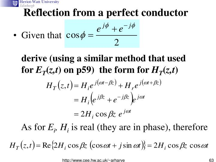Reflection from a perfect conductor