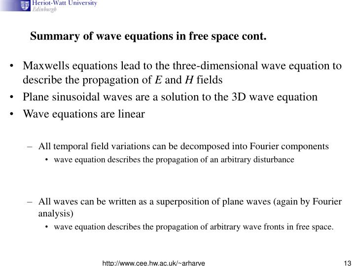 Summary of wave equations in free space cont.