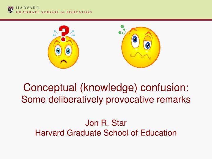 conceptual knowledge confusion some deliberatively provocative remarks n.
