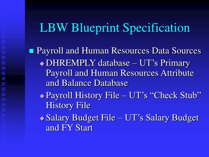 LBW Blueprint Specification