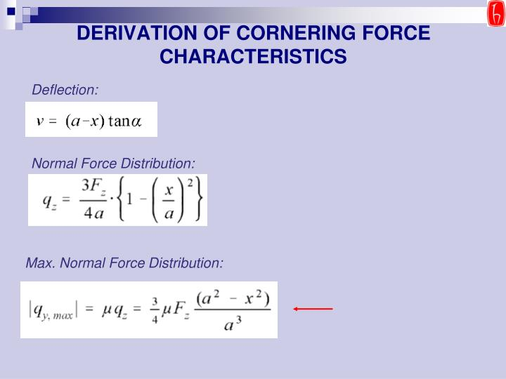 DERIVATION OF CORNERING FORCE CHARACTERISTICS