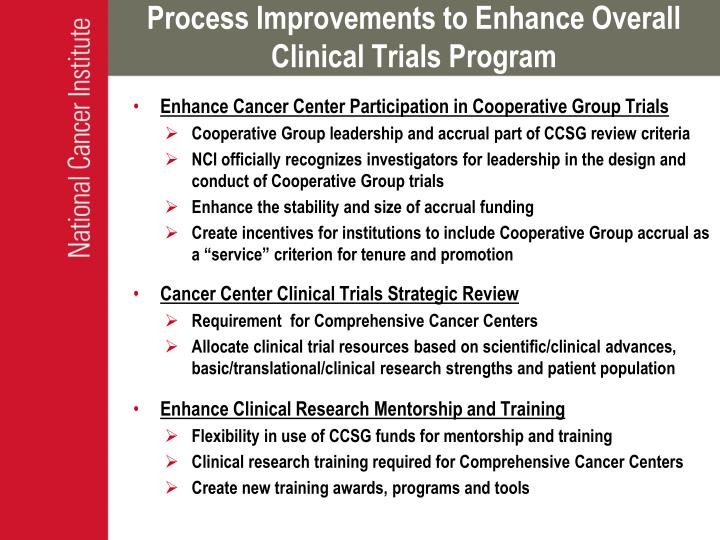 Process Improvements to Enhance Overall Clinical Trials Program