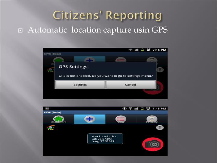 Automatic  location capture usin GPS