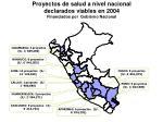 proyectos de salud a nivel nacional declarados viables en 2004 financiados por gobierno nacional