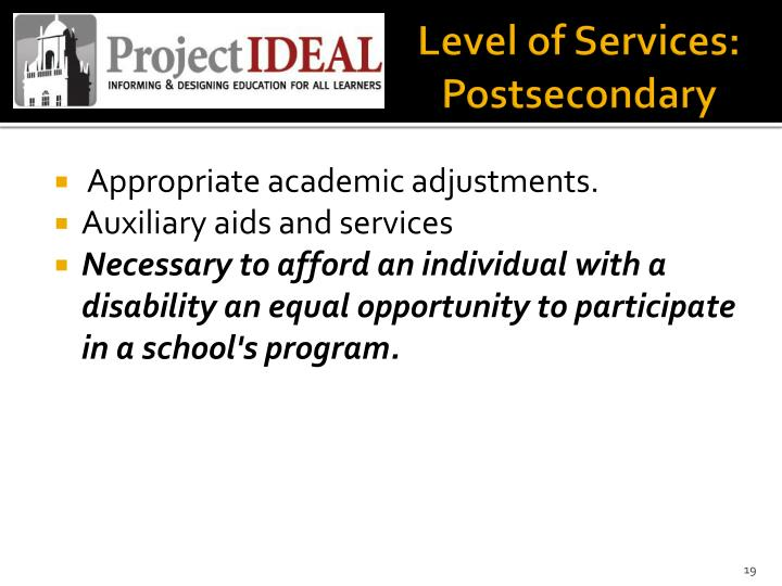 Level of Services: Postsecondary