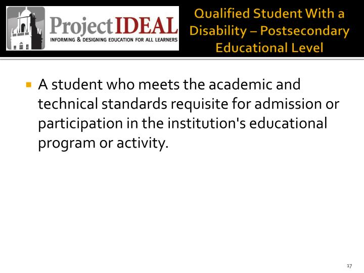 Qualified Student With a Disability – Postsecondary Educational Level