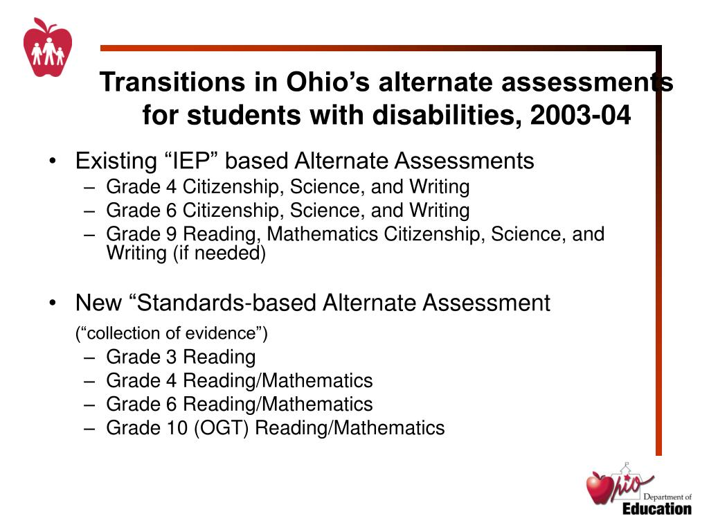 PPT - Ohio's Alternate Assessments for Students with