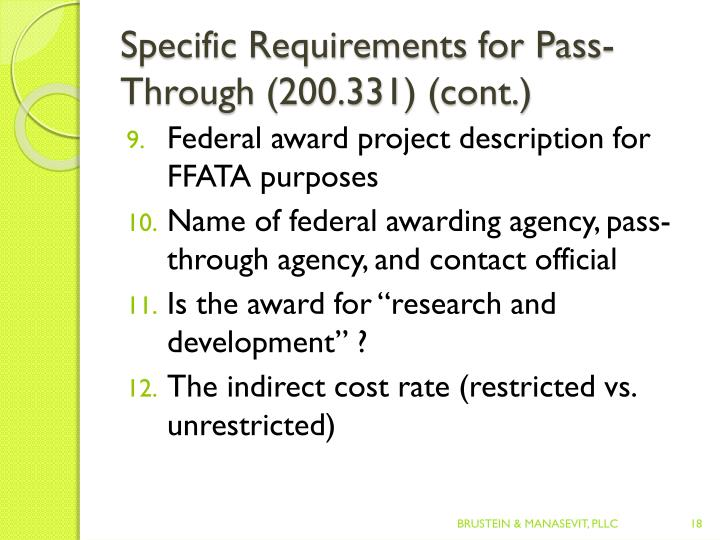 Specific Requirements for Pass-Through (200.331