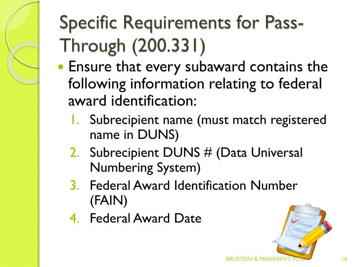 Specific Requirements for Pass-Through (200.331)