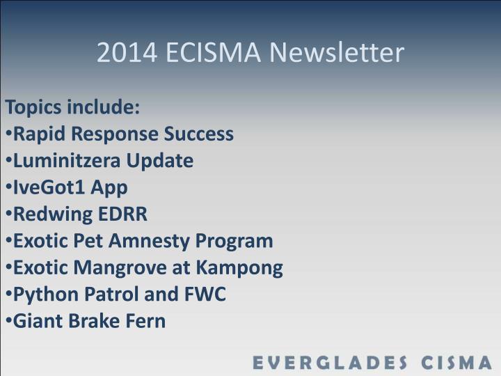 2014 ECISMA Newsletter