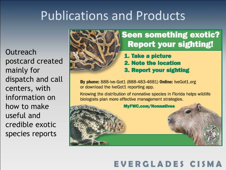 Publications and Products