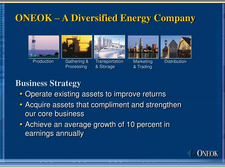 Oneok a diversified energy company