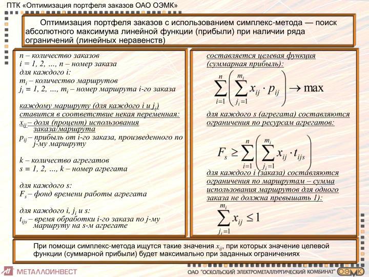 Оптимизация портфеля заказов с использованием симплекс-метода — поиск абсолютного максимума линейной функции (прибыли) при наличии ряда ограничений (линейных неравенств)