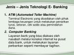 jenis jenis teknologi e banking