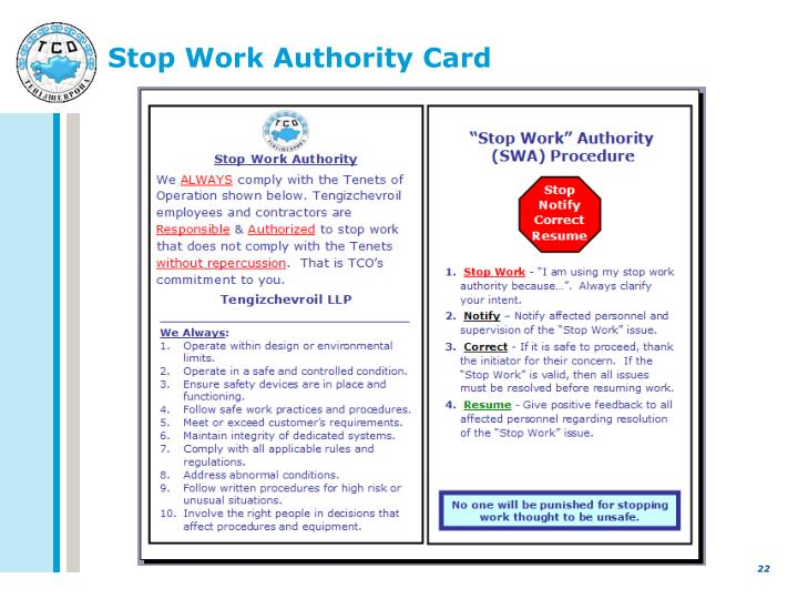 Ppt Speak Up For Safety Stop Work Authority Powerpoint