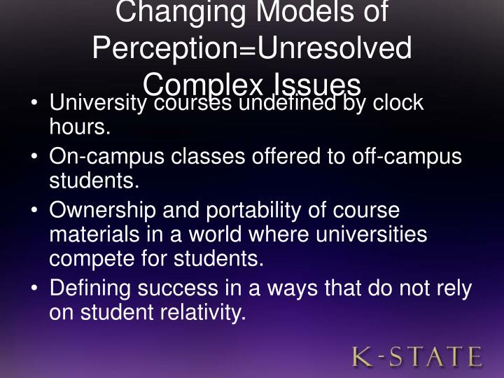Changing Models of Perception=Unresolved Complex Issues