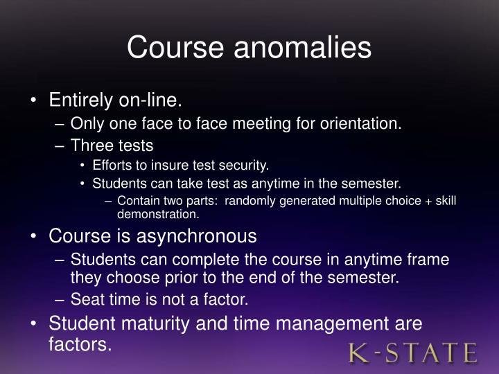 Course anomalies
