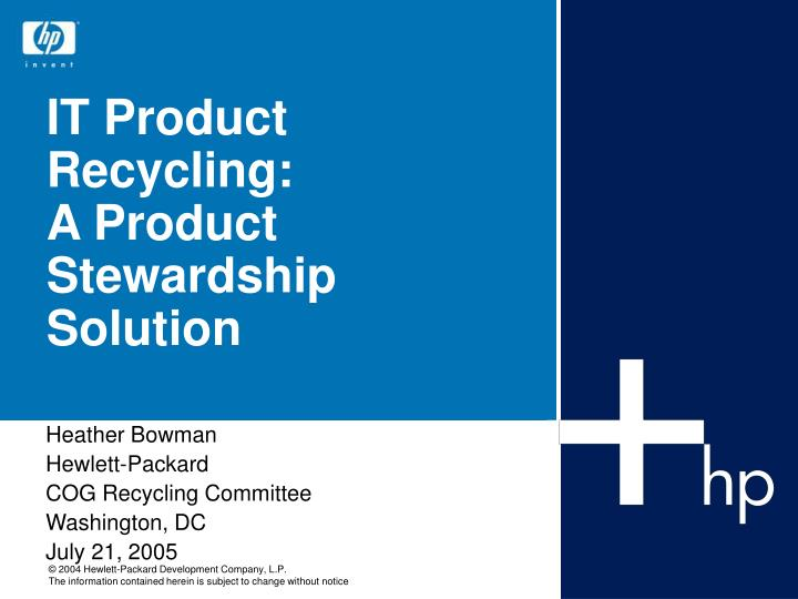 it product recycling a product stewardship solution n.