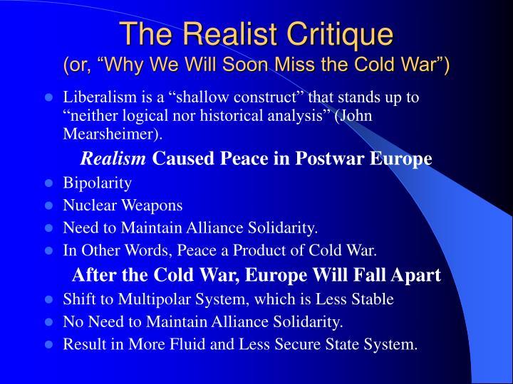 The Realist Critique