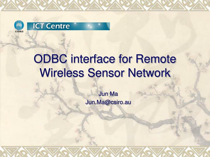 odbc interface for remote wireless sensor network n.