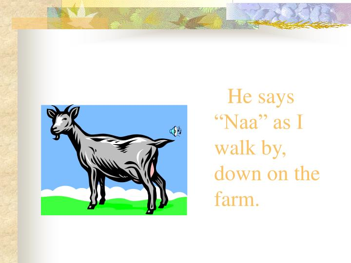 "He says ""Naa"" as I walk by, down on the farm."