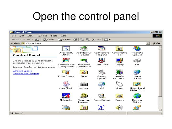 Open the control panel