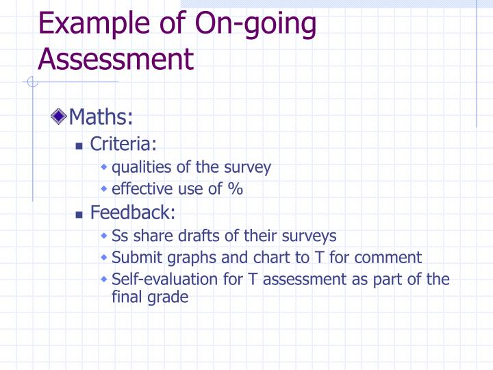 Example of On-going Assessment