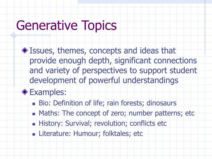 Generative Topics