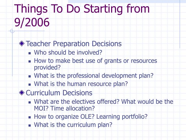 Things To Do Starting from 9/2006